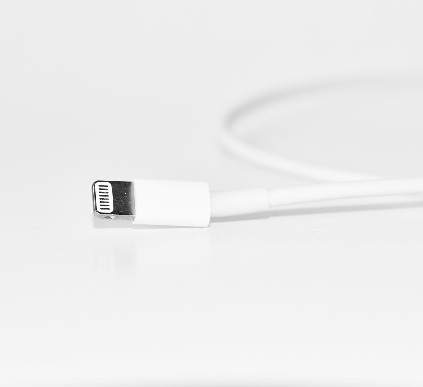 close up photography of white iphone charger